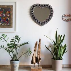 Spiegel herzform mit Rosen silber