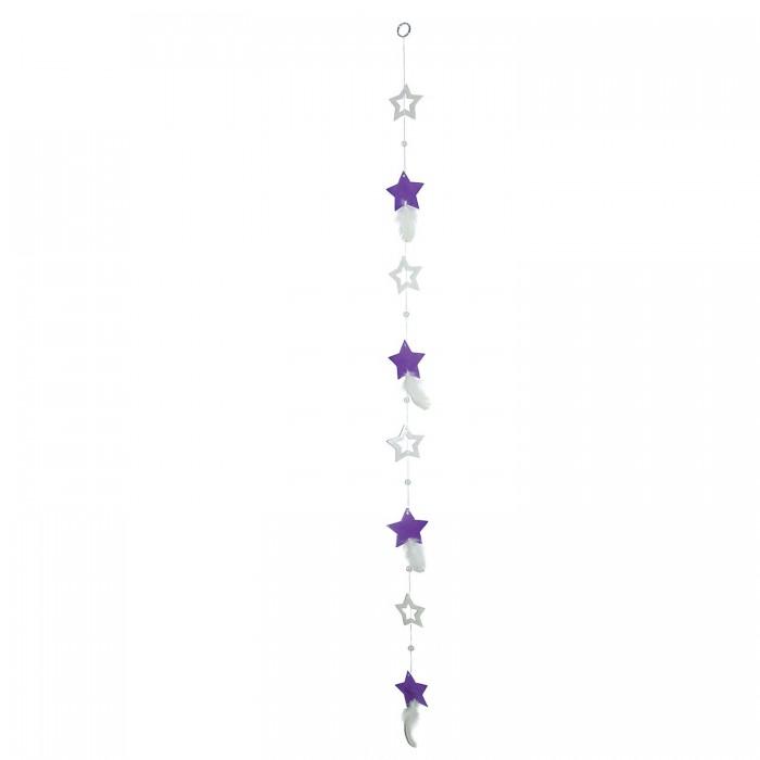 Fensterdeko Muschelgirlande Sterne lila mit Federn