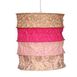 Lámpara de papel, lámpara colgante luz rosa/ oro
