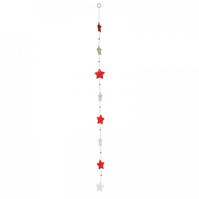 Fensterdeko Muschelgirlande Sterne weiß-rot