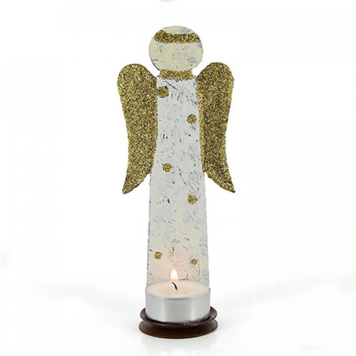 Kerzenhalter Engel weiß, Weihnachtsdeko