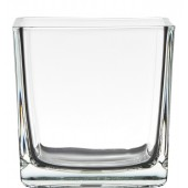 Blumentopf Würfel  aus Glas 14cm klar