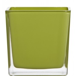 Blumentopf aus Glas 14cm, Würfel grün