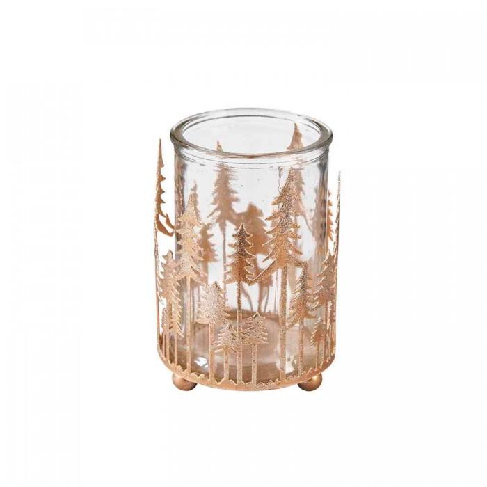 Holz Weihnachtsdeko Krippenszene Beleuchtung inkl Halter aus Glas Teelicht