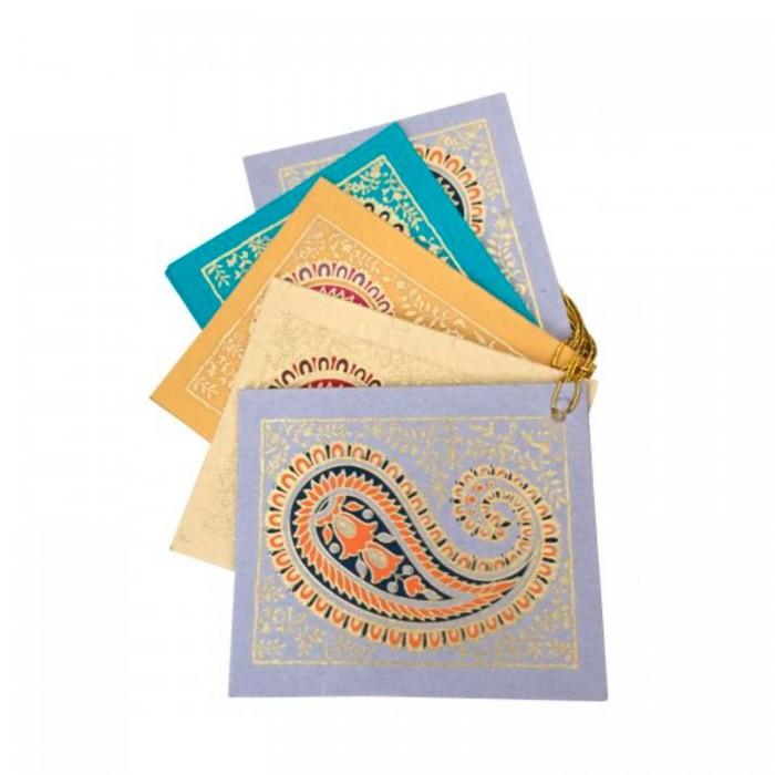 Geschekanhänger Paisley aus handgeschöpftem Papier