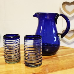 Gläser 4er Set spiral blau