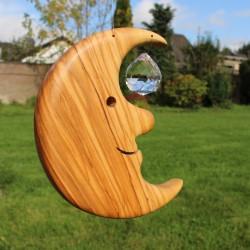 Fensterkristall Mond 15cm mit Kristall 30er Kugel aus Holz | Fensterdeko