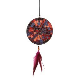 Fensterdeko Mosaik mit Feder rot violett