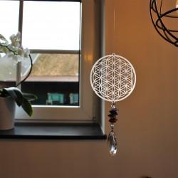"""Windspiel """"Blume des Lebens"""" mit Kristall"""