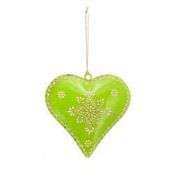Dekohänger Herz Kanu grün aus Metall