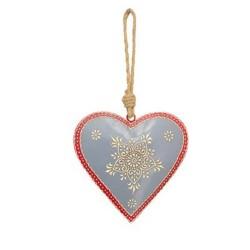 Dekohänger Herz grau aus Metall