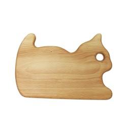 Frühstücksbrettchen mit Tiermotiv Katze, Holzbrettchen
