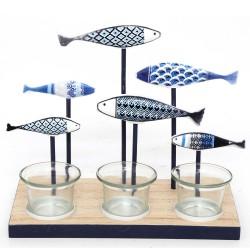Kerzenhalter 6 Fische blau