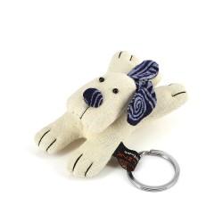 Schlüsselanhänger Hund weiss, Baumwolle