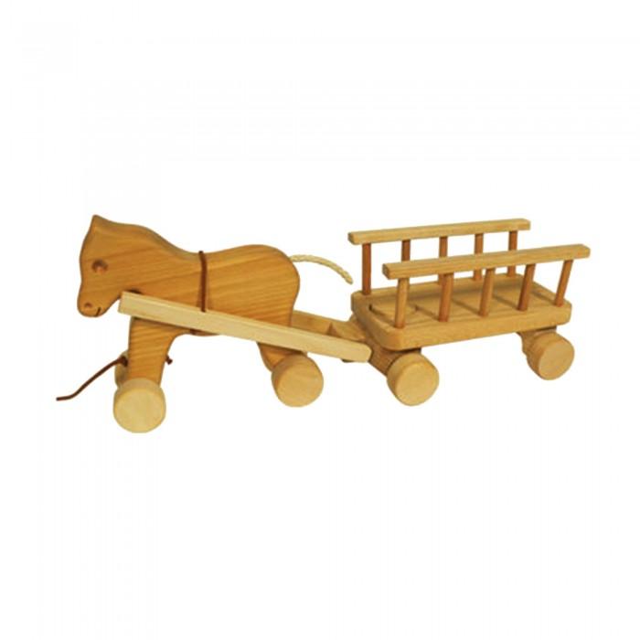 Pferd mit Anhänger aus Holz 46 cm