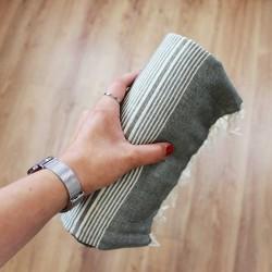 Handtuch , Fouta grau gestreift