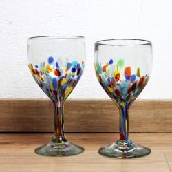 Weingläser 2er Set Konfetti   Mundgeblasenes Glas (defekt)