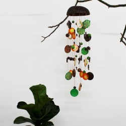 Window decoration wind chime | Shell mobile blue-turquoise-nature