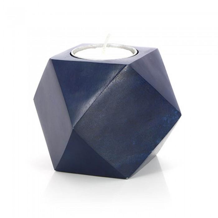 Teelichthalter geometrisch grau und blau