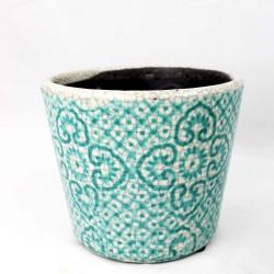 Blumentopf aus Keramik türkis 14cm