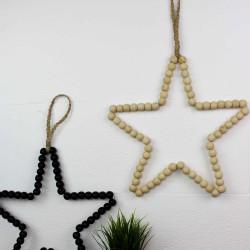 Wanddeko Stern mit Perlen aus Holz, natural