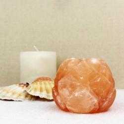 Salzkristall Teelichthalter Lotusblüte