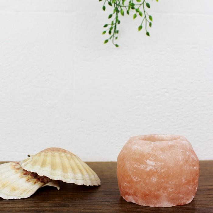 Salzkristall Teelichthalter Rock