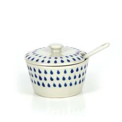 Zuckerdose mit Löffel aus Keramik, Set Drops