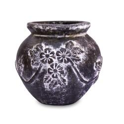 Mexikanischer Blumentopf aus Ton Blumen dunkelgrün