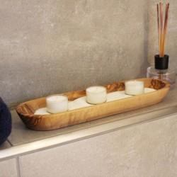 3er Teelichthalter aus Holz Wellness mit Sand