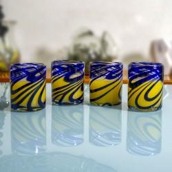 Gläser 4er Set, Wasserglas blaue Welle