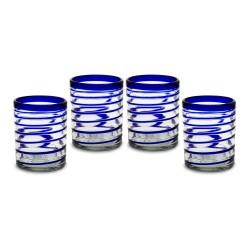 Gläser 4er Set, spiral blau klein