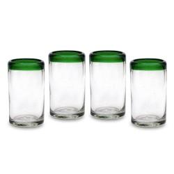 4er Set Gläser - 11,5 cm grün Rand