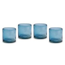 Wassergläser aus Mexiko im 4er Set blau