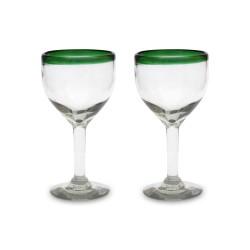 Weinglas 2er Set grün Rand