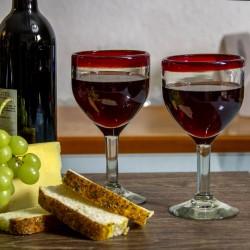 Weinglas 2er Set rot Rand