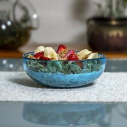 4 Teller aus Mundgeblasenes Glas Aqua