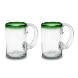 Bierkrug 2er Set , Bierglas grün Rand