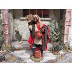 Händler dunkelhäutig mit Sack 12 cm, Krippenfiguren