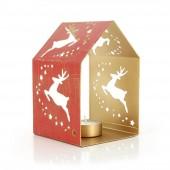 Teelichthalter Haus rot, Eisenblech, Weihnachtsdeko