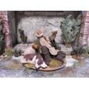Bettler mit Hund 14/16 cm aus Ton/Stoff