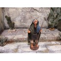 Krippenfiguren Schäfer mit Stock 7 cm aus Ton/Stoff