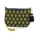 Handtasche blau/ gelb - Juanita Schultertasche