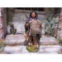 Krippenfiguren Bauer mit Spaten und Sack 12 cm aus Ton/Stoff