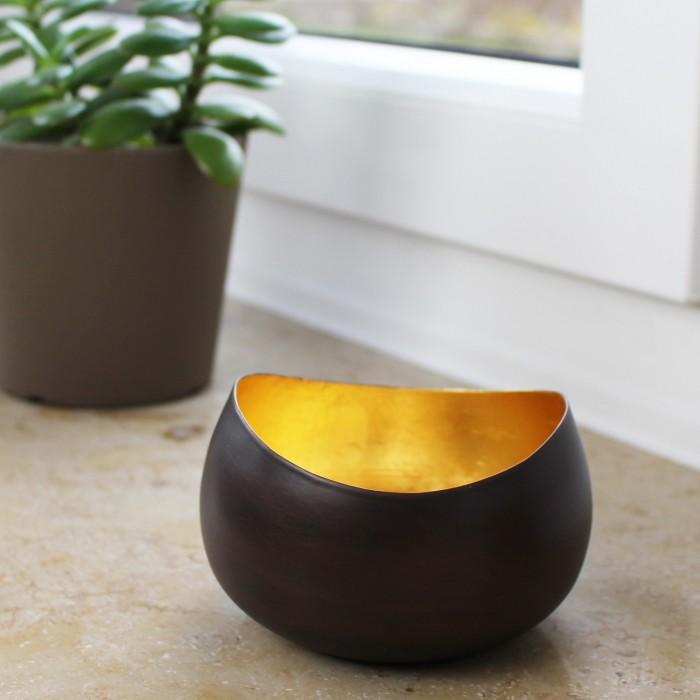 Teelichthalter | Teelichtschale Swing bronzen/golden