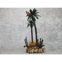 Palme 20 cm mit Kakteen auf Korksockel