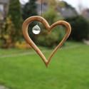 Fensterdeko aus Holz, Herz mit Kristall