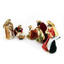Krippenfiguren Set mit Kleidung | Heilige Familie und 3 Königen