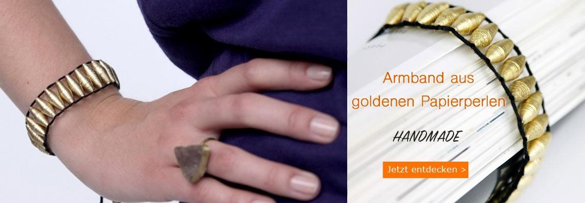 Armband aus goldenen Papierperlen